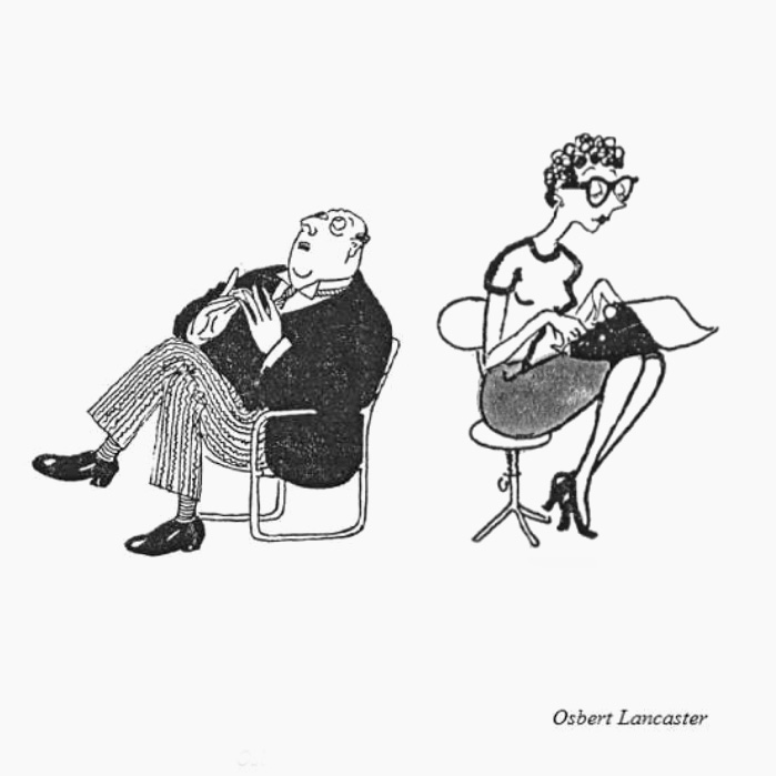 Illustration Osbert Lancaster - Parkinson law / Loi de Parkinson